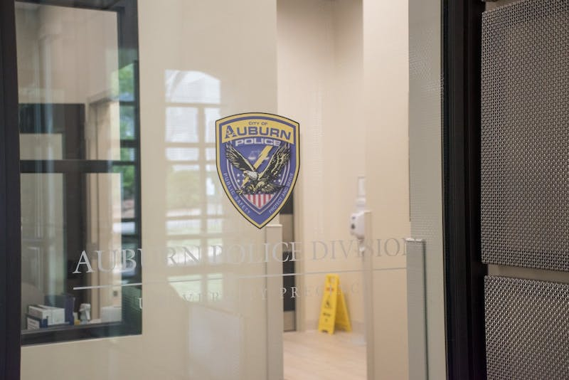 The door to the Auburn Police Division on Friday, April 6, 2018, in Auburn, Ala.