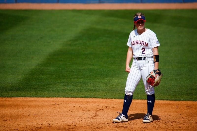 Mar 14, 2021; Auburn, AL, USA; Sydney Cox (2) at second base during the game between Auburn and Alabama at Jane B Moore Field. Mandatory Credit: Matthew Shannon/AU Athletics