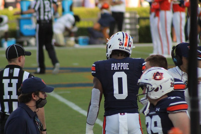 Owen Pappoe ahead of a game against Akron on Sept. 4, 2021, at Jordan-Hare Stadium in Auburn, Ala.