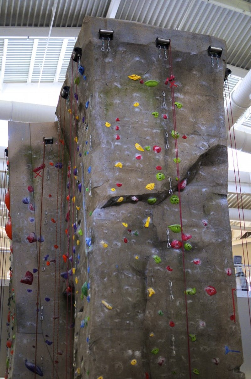 A rock climbing wall at AuburnUniversity Recreation and Wellness Center on Thursday, May 11, 2017 in Auburn, Ala.