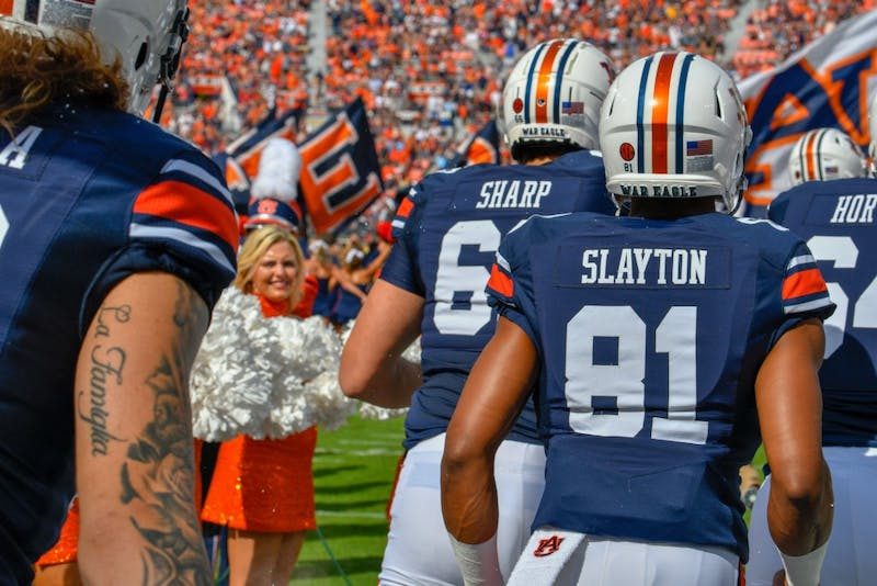 Darius Slayton (81) runs onto the field prior to Auburn Football Vs. Southern Miss Saturday, Sept. 29, in Auburn, Ala.