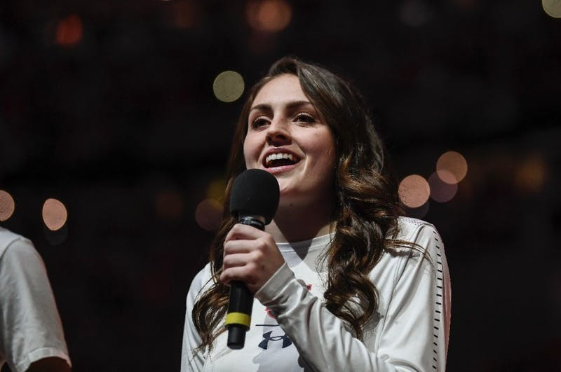 Morgan Kull singing the national anthem at the Final Four game in Minneapolis, Minnesota, on April 6, 2019.