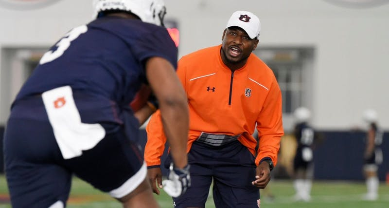 "Carnell ""Cadillac"" Williams at Auburn football spring practice on March 18, 2019, in Auburn, Ala."