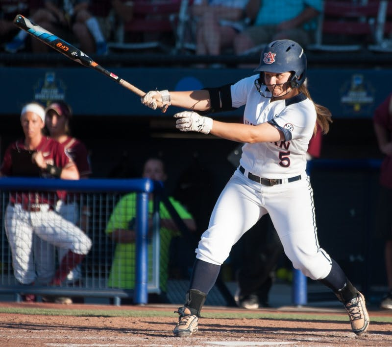 Emily Carosone (5) swings for a hit. Auburn vs Florida State, Women's College World Series Semifinal on Sunday, June 5 in Oklahoma City, OK.