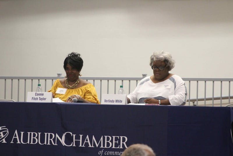 Auburn City Council Ward 1 candidates Connie Fitch Taylor (left) and Verlinda White (right) answered the audience's questions at a forum on Thursday night, Aug. 23, 2018, in Auburn, Ala.