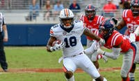 Seth Williams (18) runs after a catch during Auburn Football vs. Ole Miss on Saturday, Oct. 20, 2018, in Oxford, Miss.