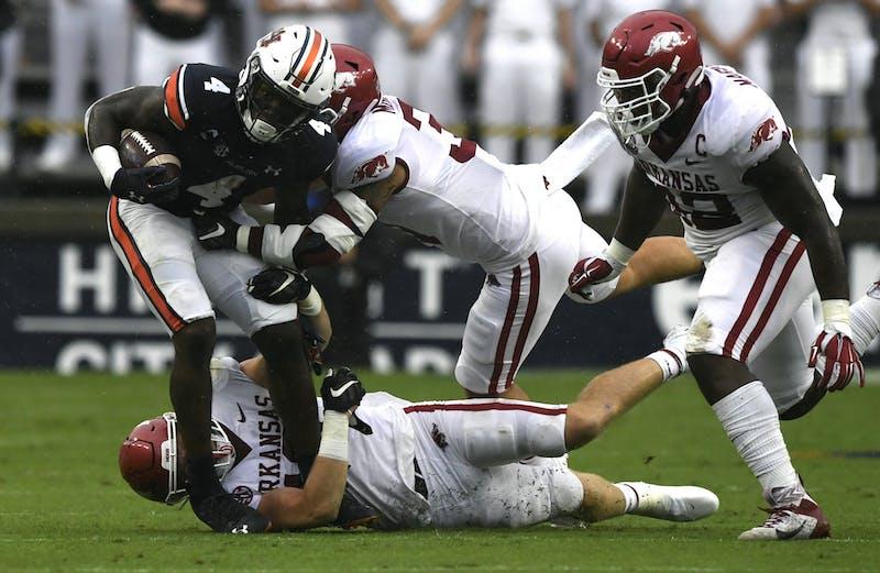 Oct 3, 2020; Auburn, AL, USA; Tank Bigsby (4) runs the ball during the game between Auburn and Arkansas at Jordan-Hare Stadium. Todd Van Emst/AU Athletics