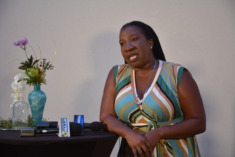 Tarana Burke speaks at a press conference prior to her talk on Thursday, Sept. 25, 2019, at the Telfair B. Peet Theatre.
