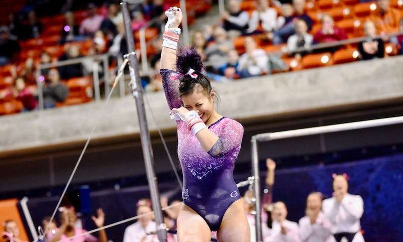 Samantha Ciero celebrates during Auburn Gymnastics vs. Iowa on Friday, Jan. 4, 2019, in Auburn, Ala.