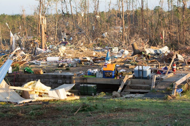 A home destroyed in Beauregard, Alabama, after a tornado killed 23 people and left dozens of other injured and without homes.