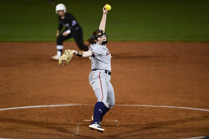 Mar 4, 2021; Auburn, AL, USA; Auburn Tigers Shelby Lowe (55) delivers during the game between Auburn and Troy at Jane B. Moore Field. Mandatory Credit: Shanna Lockwood/AU Athletics