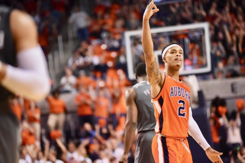 Bryce Brown (2) celebrates a three-point shot during Auburn Men's Basketball vs. Mississippi State on March 2, 2019, in Auburn, Ala.