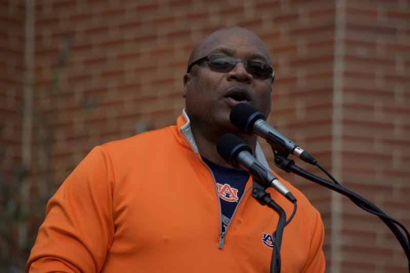 Bo Jackson speaks at the unveiling of the Charles Barkley statue in front of the Auburn Arena prior to Auburn vs Alabama on Saturday, Nov. 25 in Auburn, Ala.