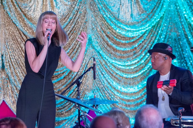 Singer, songwriter and Broadway actress Morgan James performs at a reveal party for the Gogue Performing Arts Center's inaugural season on March 6, 2019.