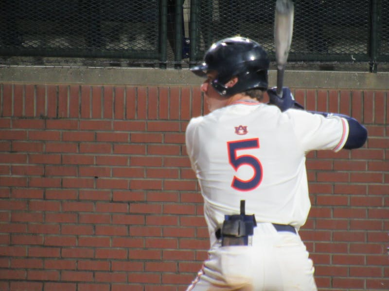 Kason Howell (5) bats for Auburn against LSU at Plainsman Park on May 7, 2021; Auburn, AL