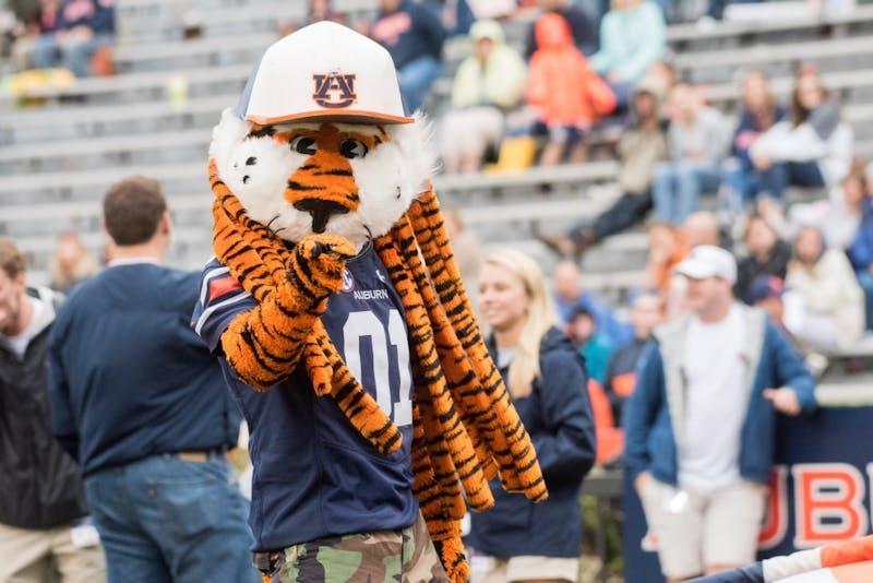 Aubie the Tigerduring Auburn's A-Day game on Saturday, April 7, 2018, in Auburn, Ala.