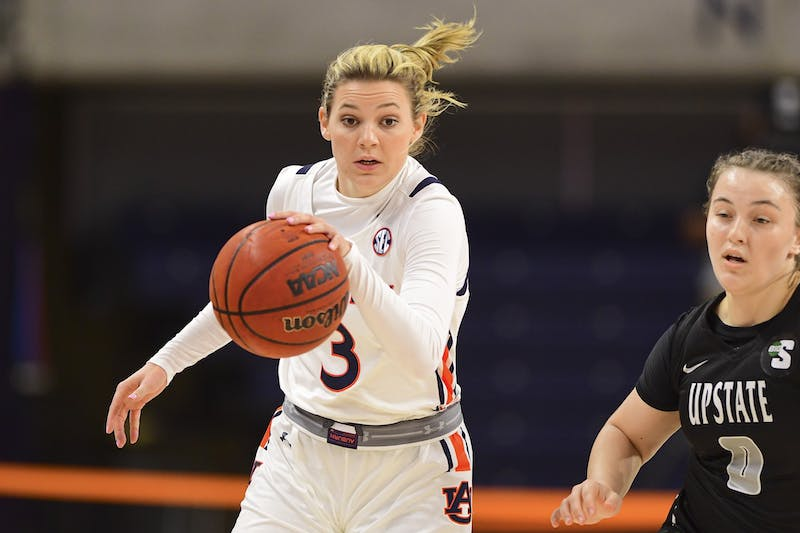 Annie Hughes (3) during the game between Auburn and USC Upstate Spartans at Auburn Arena on Nov 25, 2020; Auburn, AL, USA.