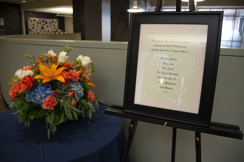 A flower vase from the Student Memorial Ceremony is displayed in the Student Center on Sept. 21, 2020, in Auburn, Ala.