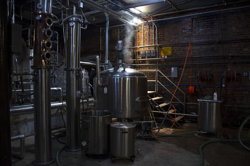 John Emerald's distilling process takes about a week using the equipment in its production area.