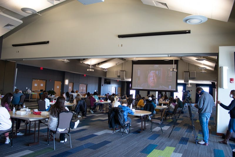 Attendees to the 2021 MLK Day of Service listen to Bernard Lafayette speak over Zoom on Jan. 18, 2021 in Auburn, Ala.