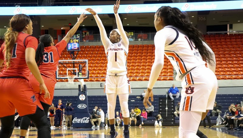Robyn Benton (1) shoots during Auburn Women's Basketball vs Ole Miss on Jan. 23, 2020, in Auburn, Ala.