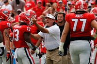 Kirby Smart, head coach of the University of Georgia football team, yells during the University of Georgia vs. Middle Tennessee University football game on Saturday, Sept. 15, 2018, at Sanford Stadium in Athens, Georgia. Photo credit: Tony Walsh / The Red and Black