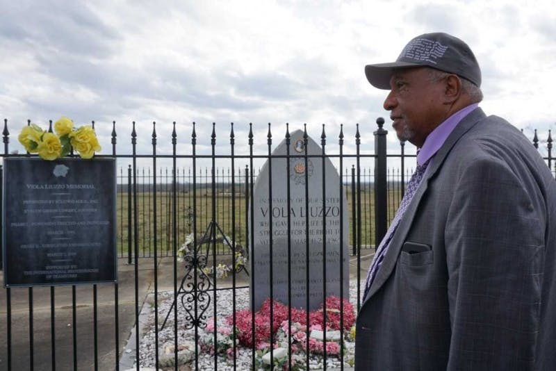 Bernard Lafayette visits the memorial of Viola Liuzzo on Monday, Feb. 19.