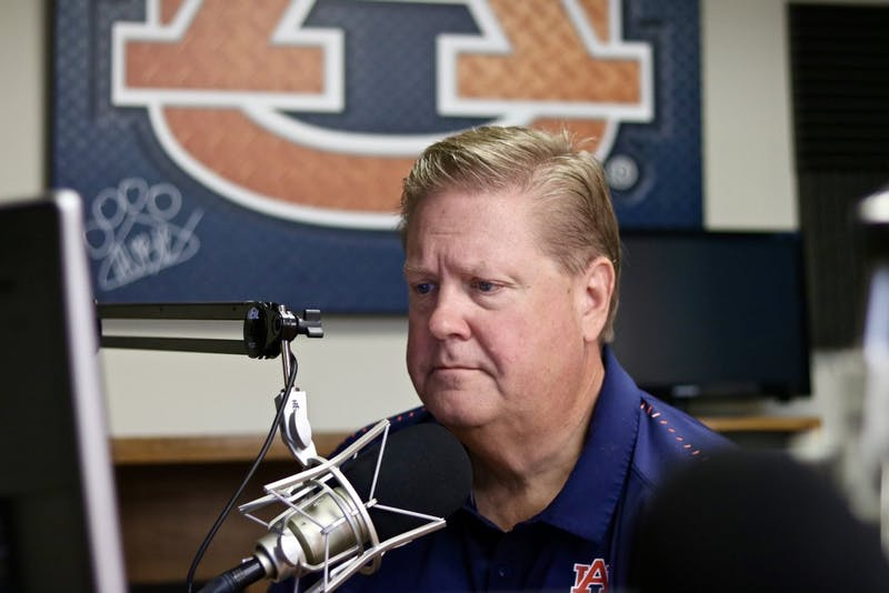 Andy Burcham as the new Voice of the Auburn Tigers in the studio on Sept. 3, 2019, in Auburn, Ala.