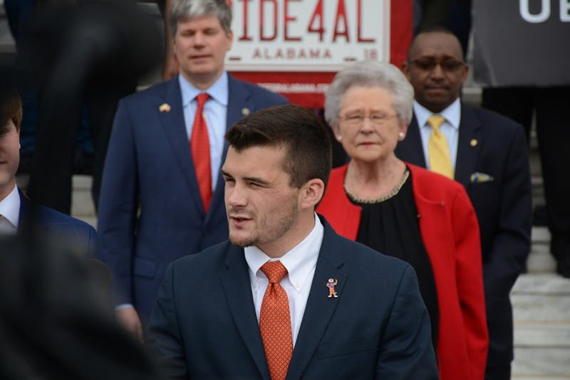 Auburn SGA President Dane Block speaks at a bill signing at the Alabama State Capitol on March 1, 2018.