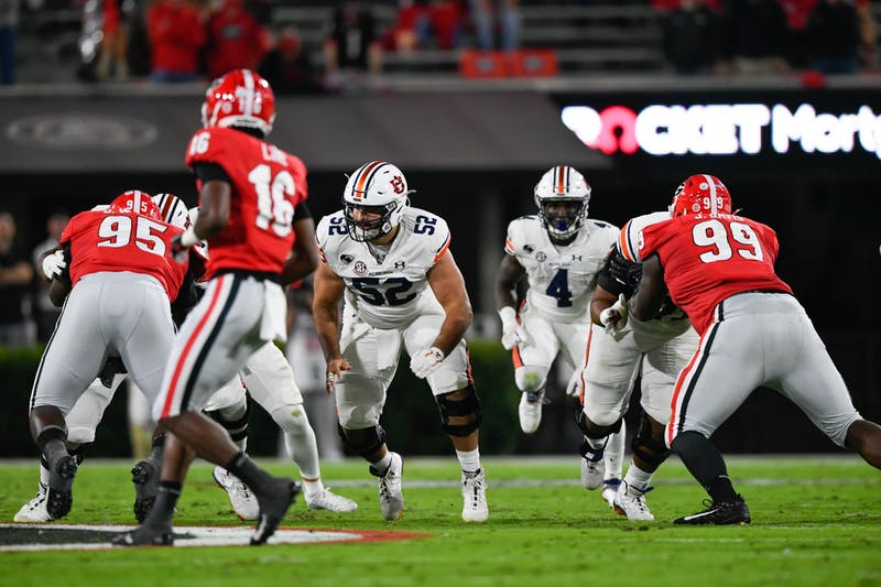 Oct 3, 2020; Athens, GA, USA; Offensive line blocking for Tank Bigsby (4) during the game between Auburn and Georgia at Samford Stadium. Mandatory Credit: Todd Van Emst/AU Athletics