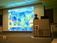 Nancy Locke speaking during her Art History lecture on Tues, Jan. 15, 2019 in Auburn, Ala.