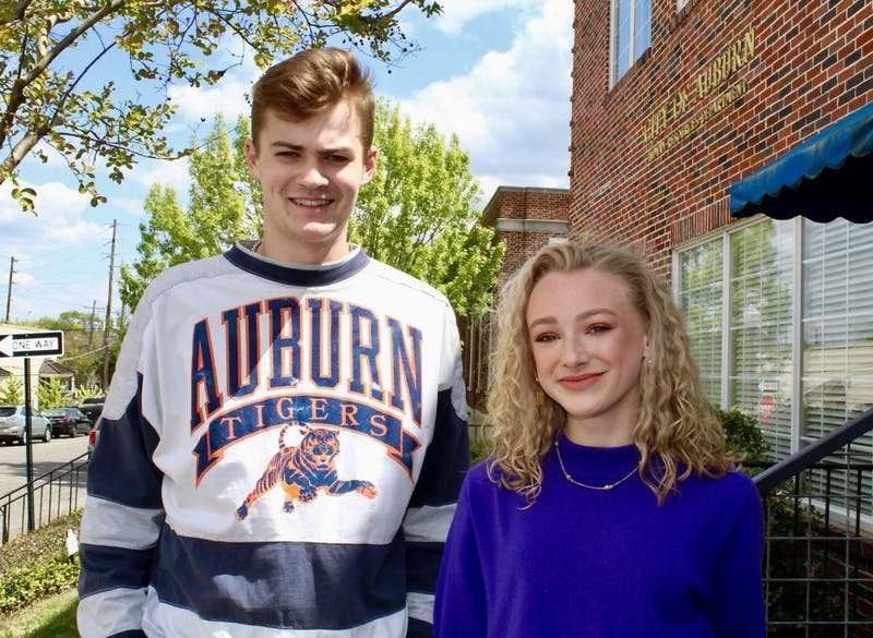 Atlier ownders Abby Heinzen, freshman in French, and Alex Tunnell pose for The Plainsman in Auburn, Ala.