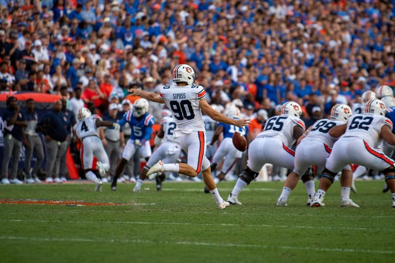 Arryn Siposs (90) punts the ball during Auburn vs. Florida, on Saturday, Oct. 5, 2019, in Gainesville, Fla.