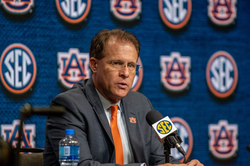 Gus Malzahn speaks to the media at SEC Media Days at the Hyatt Regency Birmingham-Wynfrey Hotel on Thursday, July 18, 2019, in Hoover, Ala.