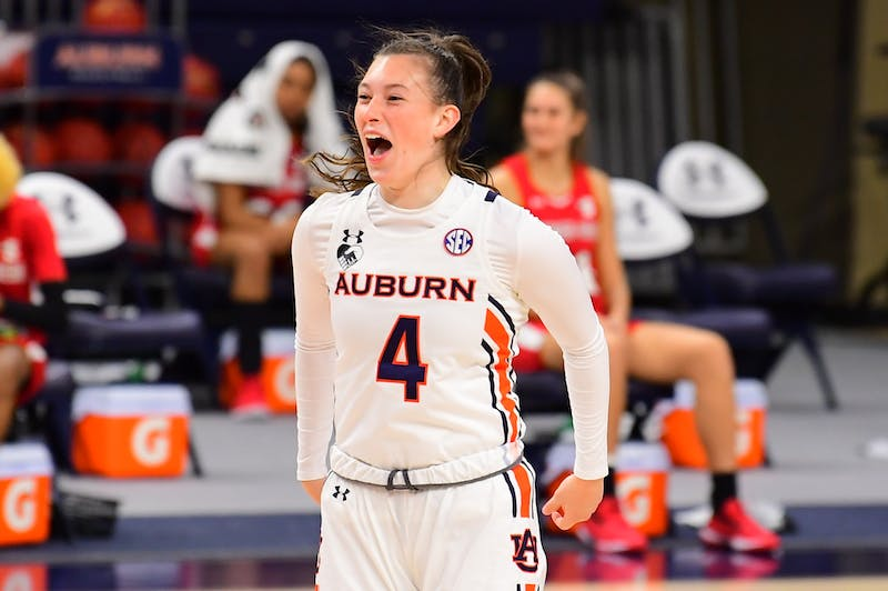 Riley Donahue (4) reacts during the game between Auburn and Gardner-Webb at Auburn Arena on Dec 1, 2020; Auburn, AL, USA. Photo via: Shanna Lockwood/AU Athletics