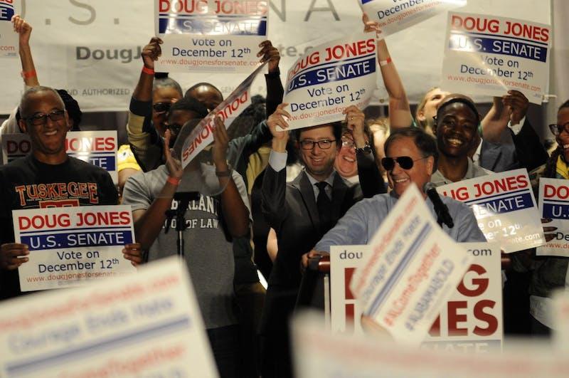 Former Vice President Joe Biden campaigns for Senate candidate Doug Jones in Birmingham, Ala., on Oct. 3, 2017.