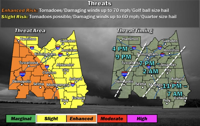 Severe weather is possible Monday evening through Tuesday morning, according to the National Weather Service.