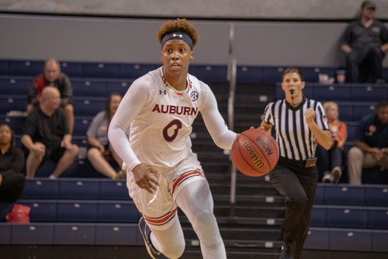 Daisa Alexander (0) drives the ball up the court during Auburn Women's Basketball vs. Oklahoma on Sunday, Dec. 2, 2018, in Auburn, Ala.