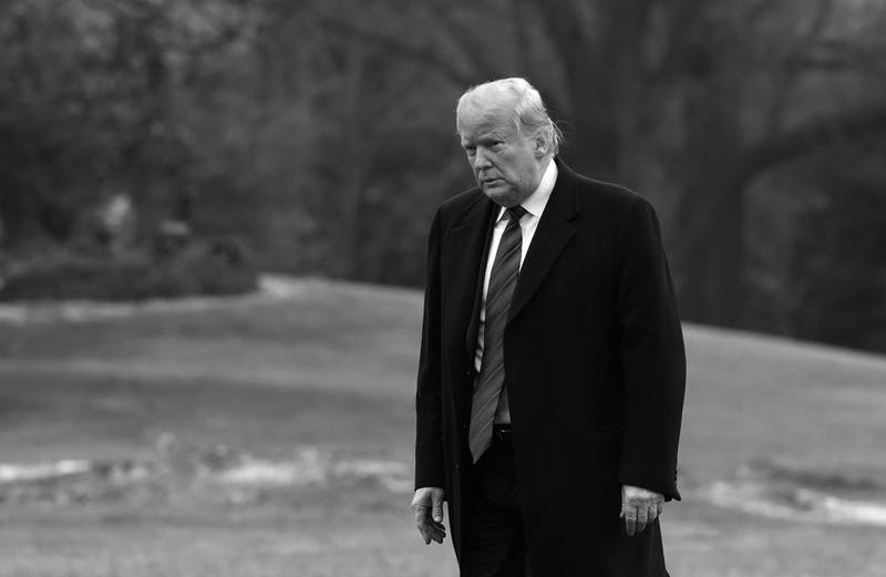 President Donald Trump on the South Lawn toward the White House after arriving on Marine One in Washington, D.C., on Saturday, Jan. 19, 2019. (Olivier Douliery/Abaca Press/TNS)