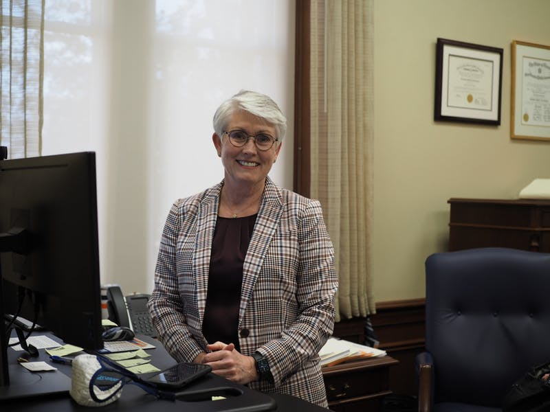Kelli Shomaker, Auburn University's chief financial officer, poses for a photo in her office in Samford Hall on March 15, 2021, in Auburn, Ala.