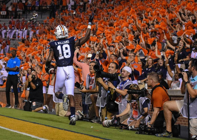 Seth Williams (18) scores a touchdown during Auburn vs. Mississippi State, on Saturday, Sept. 28, 2019, in Auburn, Ala.