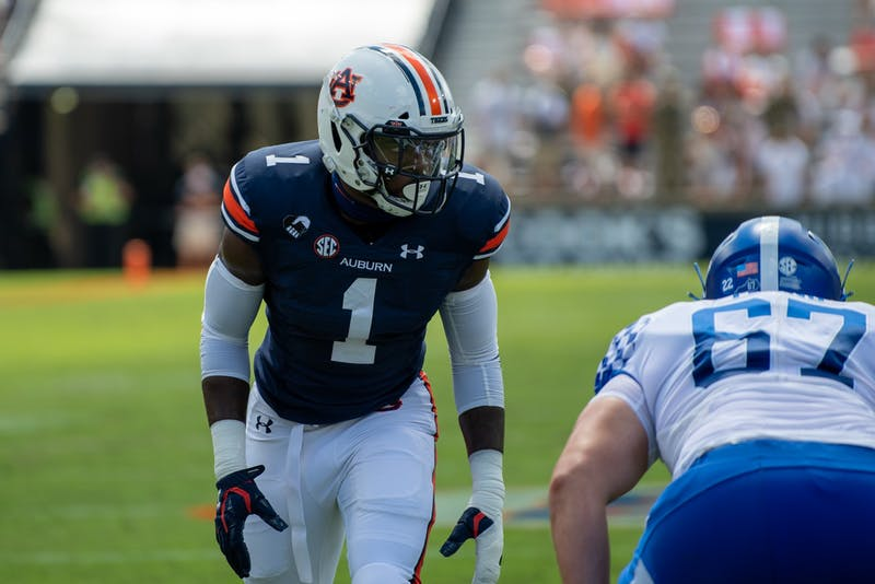 Big Kat Bryant (1) lines up prior to the snap during Auburn Football vs. Kentucky on Saturday, Sept. 26, 2020, in Auburn, Ala.
