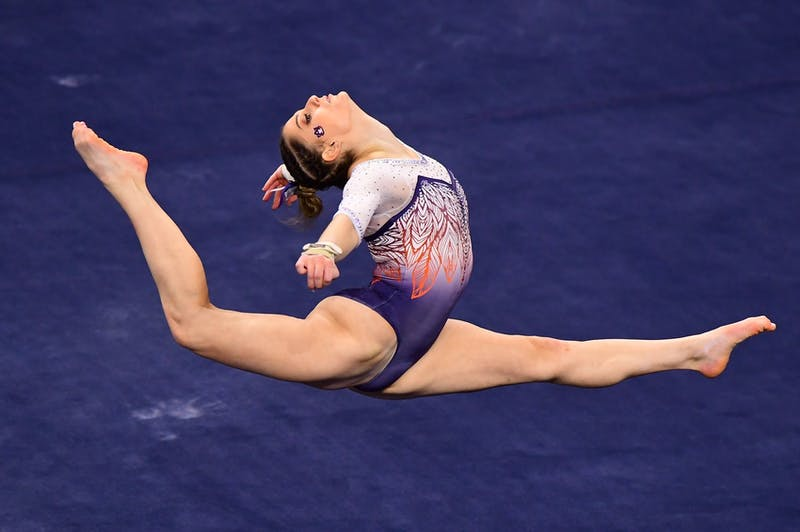 Jan 8, 2021; Auburn, AL, USA; Florida and Auburn compete during a gymnastics meet at Auburn Arena. Mandatory Credit: Shanna Lockwood/AU Athletics