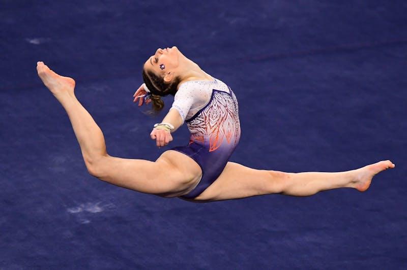 Jan 8, 2021; Auburn, AL, USA; Florida and Auburn compete during a gymnastics meet at Auburn Arena. Mandatory Credit: Shanna Lockwood/AU Athletics