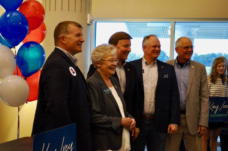 Governor Kay Ivey and her campaign party, along with Sen. Tom Whatley and Congressman Mike Rogers at the Auburn University Regional Airport on Monday, Nov. 5, 2018 in Auburn, Ala.