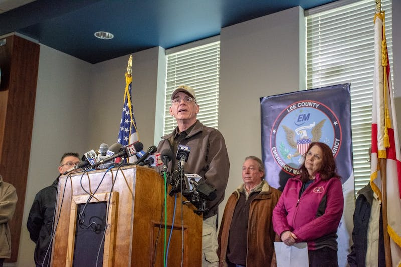 Lee County Sheriff Jay Jones stands at a press conference at Beauregard High School on March 4, 2019, one day after a tornado killed 23 people in the area.