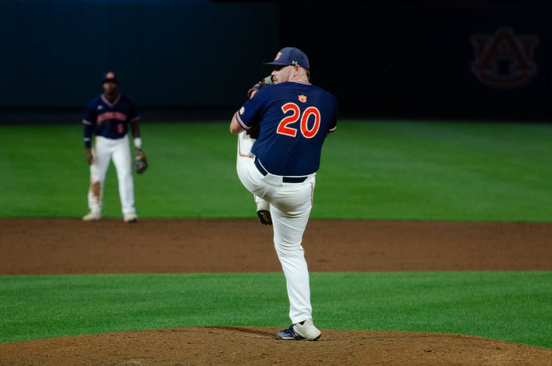 Cody Greenhill pitching against Samford on April 21, 2021. Photo via: Grace Schinsing/AU Athletics