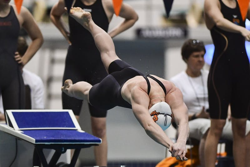 Feb 19, 2020; Auburn, AL, USA; Auburn Tigers win the women's 200 yard freestyle relay during the 2020 SEC Swimming and Diving Championships finals at James E. Martin Aquatics Center. Mandatory Credit: Shanna Lockwood/AU Athletics