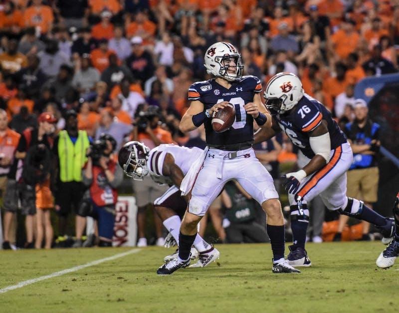 Bo Nix (10) throws the ball during Auburn vs. Mississippi State, on Saturday, Sept. 28, 2019, in Auburn, Ala.