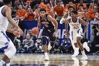 Chuma Okeke (5) dribbles the ball during Auburn men's basketball vs. Kansas on March 23, 2019, in Salt Lake City, Utah.